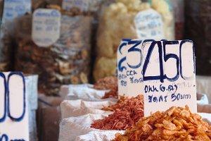 Sacks with dried seafood on a market