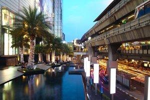 Busy night street in Bangkok, Thai