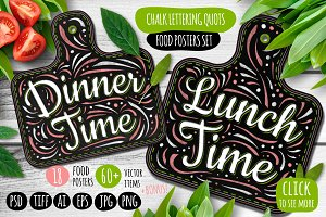 Chalk Lettering Food Posters Quotes