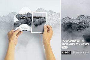 Postcard With Envelope Mockups V.2