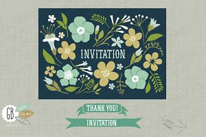 Folk flower invite dark background