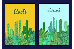 Vector cacti plants card or flyer