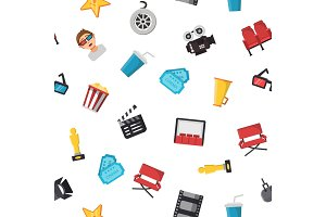 Vector flat cinema icons pattern or