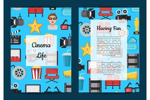 Vector flat cinema icons card or