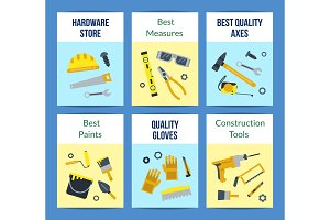 Vector flat construction tools card