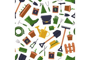 Vector flat gardening icons pattern