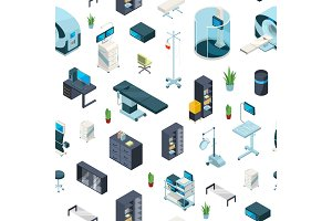 Vector isometric hospital icons