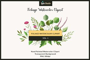 Foliage Watercolor Clipart Vol. 1