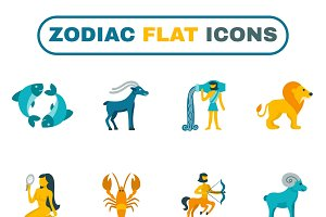 Zodiac constellation icon flat set