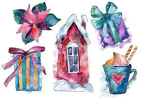 Christmas gifts PNG watercolor set