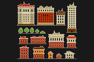 City Building Flat Style Icons Set
