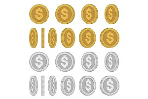 Gold and Silver Coins Set