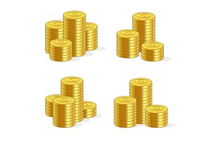 Stacks of Gold Coins Set