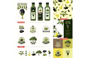 olive cartoon set. black and green