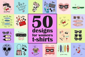 50 designs for women's t-shirts