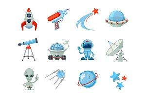 Space cartoon icons. Spaceship