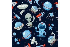 Space seamless background. Astronaut