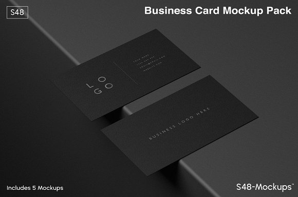 Mockup Pack Black Business Cards Stationery Templates Creative