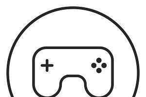 Joystick stroke icon, logo