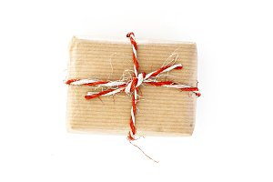 craft gift box with twine, isolated