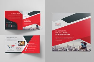 Red Square Bi Fold Brochure