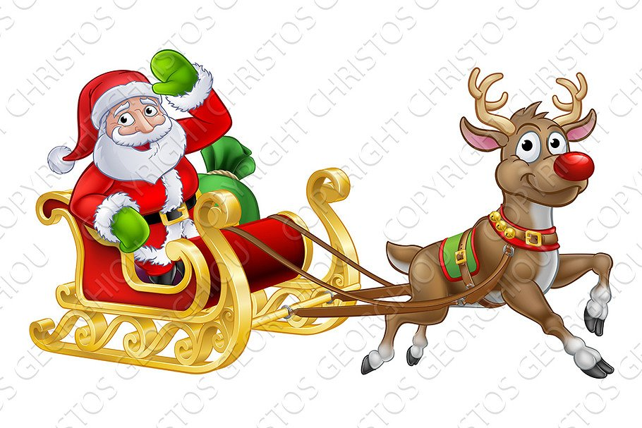 Santa Sleigh Christmas Cartoon