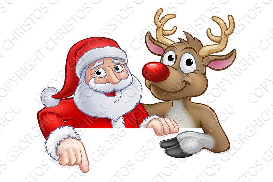 Santa And Reindeer Christmas Cartoon