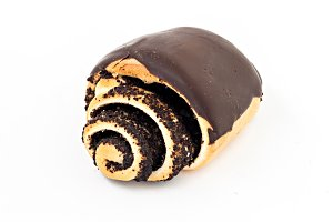 bun roll with poppy seeds and chocol