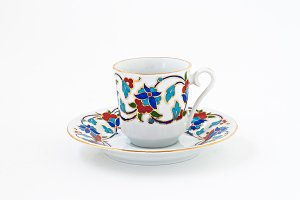 vintage coffee set with colorful dec
