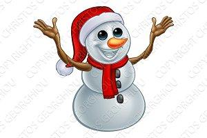 Snowman Christmas Santa Hat Cartoon