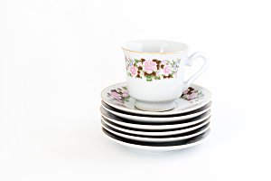 vintage coffee set with floral decor