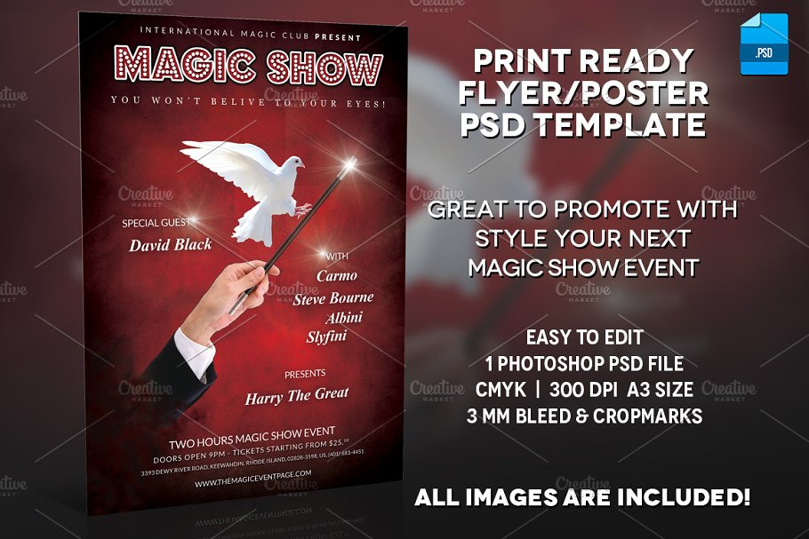 Magician Poster Print Template v 3 ~ Flyer Templates ~ Creative Market