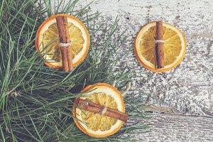 pine branches, dried orange and cinn