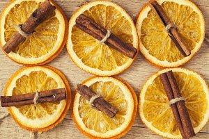 background of dried orange and cinna