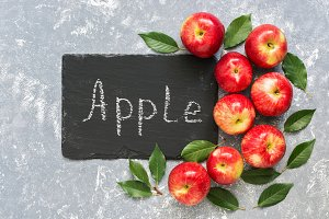 Creative composition of red apples