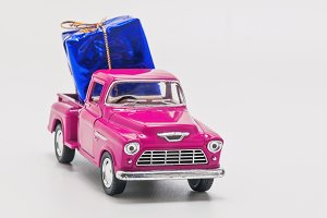 retro car pickup with  gift box isol