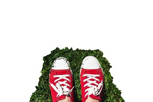 Legs in old red sneakers on green gr