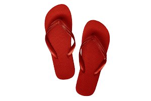 Red rubber flip flops, isolated on a