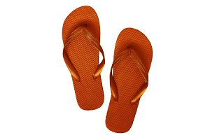 Yellow-orange rubber flip flops, iso