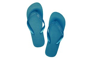 Blue rubber flip flops, isolated on