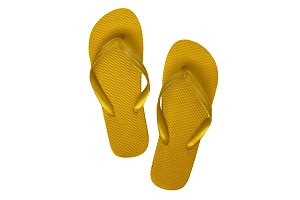 Yellow rubber flip flops, isolated o