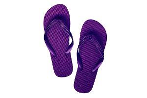 Pink-purple rubber flip flops, isola