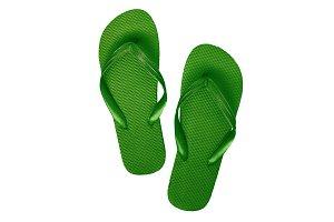 Green-turquoise rubber flip flops, i
