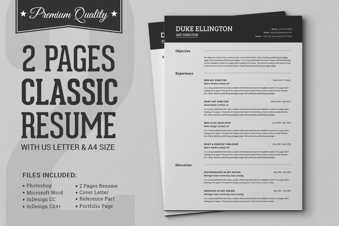 Two Pages Classic Resume Cv Template Creative Illustrator