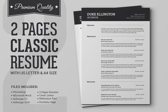 two pages classic resume cv template resumes - 2 Page Resume Template