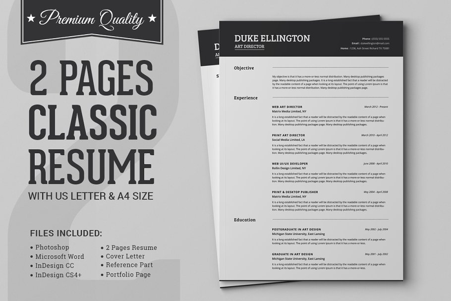 Two Pages Classic Resume CV Template Resume Templates Creative