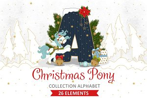 Collection alphabet Christmas Pony