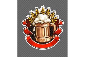 Sticker of wooden Beer mug