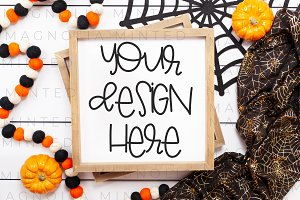 Halloween Sign Mockup 01