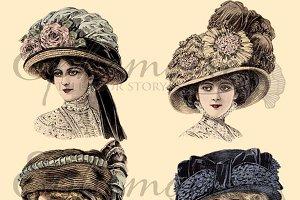 Vintage Millinery Clipart Image Set